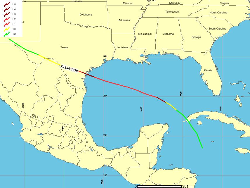 Hurricane Celia Map