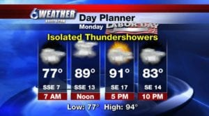 6WEATHER Labor Day Forecast.