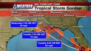 Tropical Storm Gordon; National Hurricane Center 1PM Advisory.