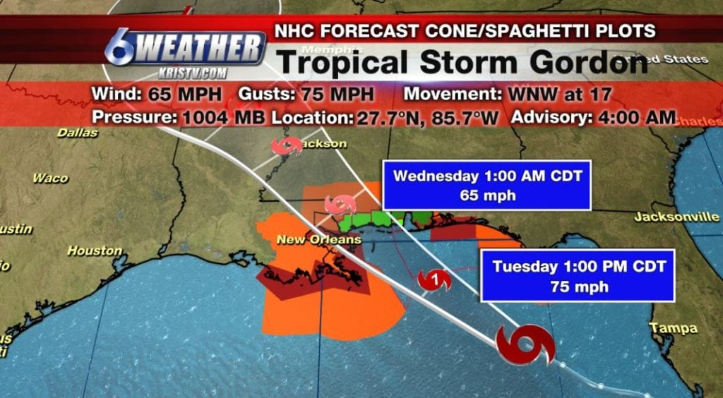 Tropical Storm Gordon 4AM Advisory from the National Hurricane Center.