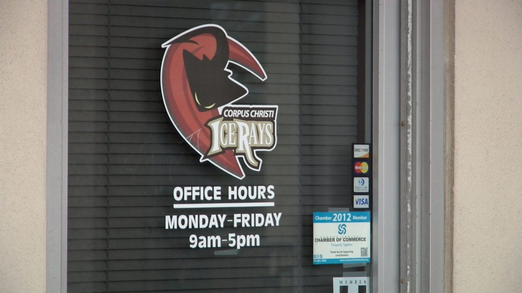 The door to the Corpus Christi IceRays offices. Team officials told KRIS 6 News they have no plans to relocate at this time.