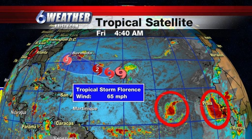 Tropical update for 9-7-18. Showing Tropical Storm Florence and two disturbances following. May become Helene and Isaac.