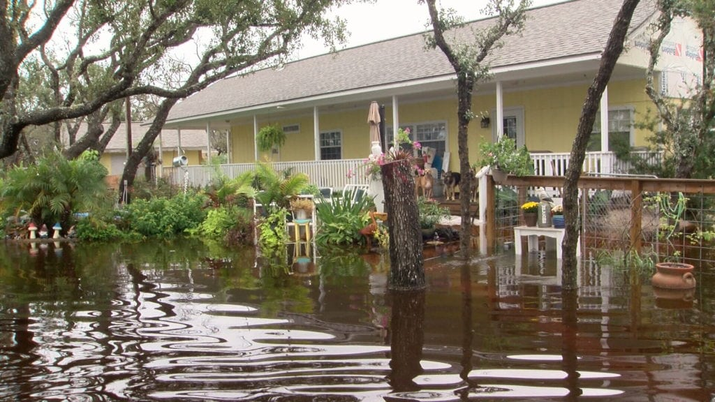 Joe Kirchens' front yard sits under several inches of water Sunday. Weekend rains flooded several areas of Aransas County.