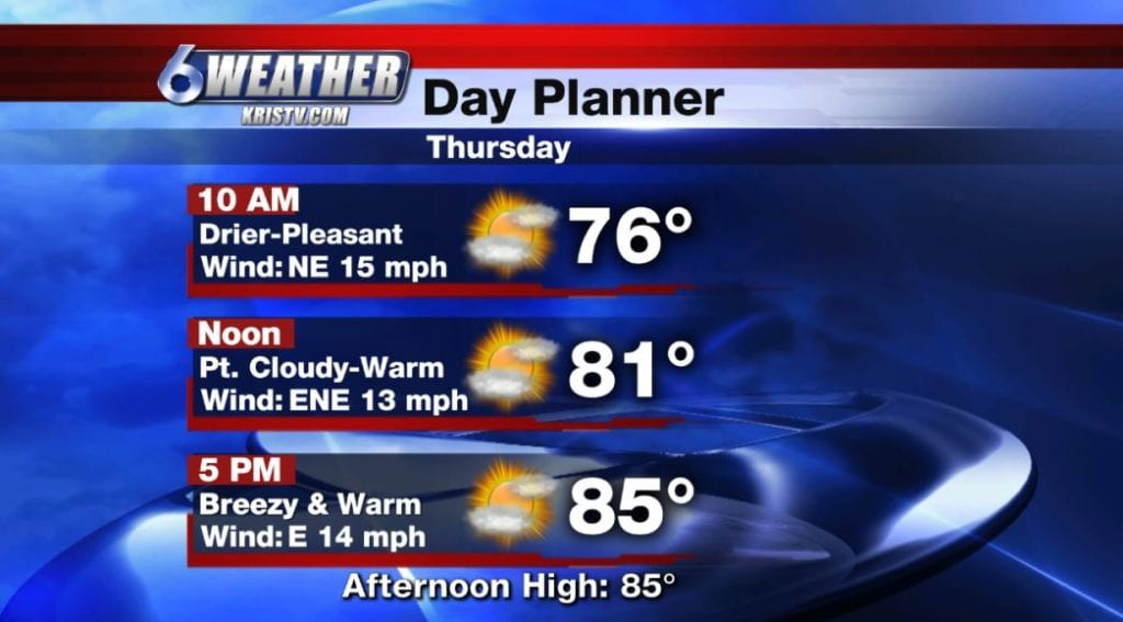 6WEATHER Day Planner for Thursday 10/11/18.