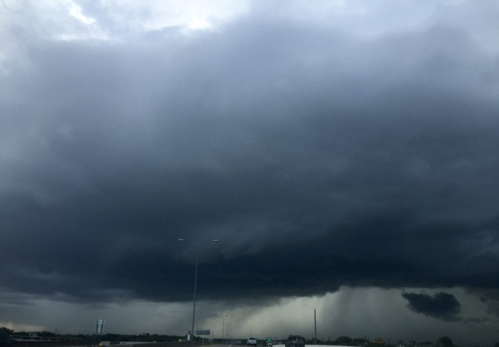 Dark rain clouds moving through the Coastal Bend as cold front moved through.