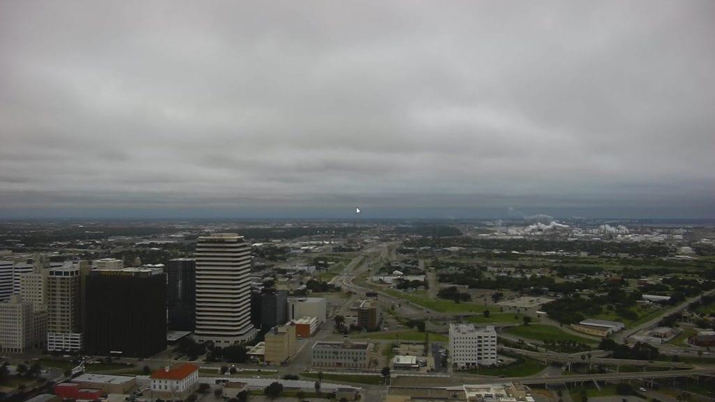 Overcast skies in Corpus Christi, Texas on 10/16/18.