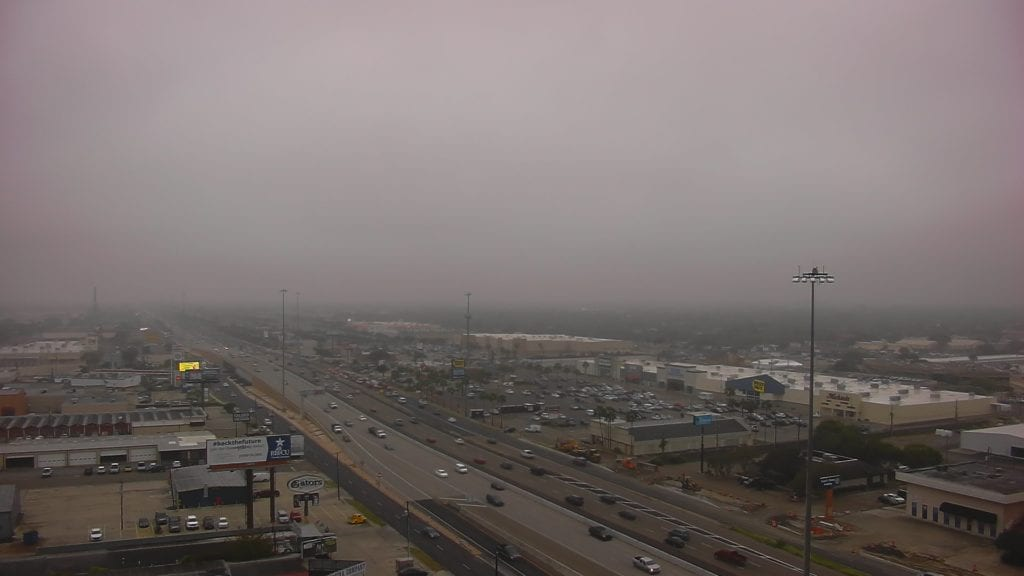 SPID camera showing light mist and drizzle in Corpus Christi on 10/18/18.