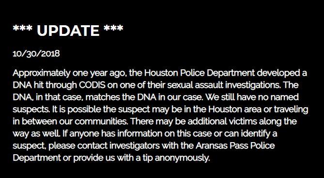 Photo: Aransas Pass police rape investigation statement. (Courtesy APPD website)