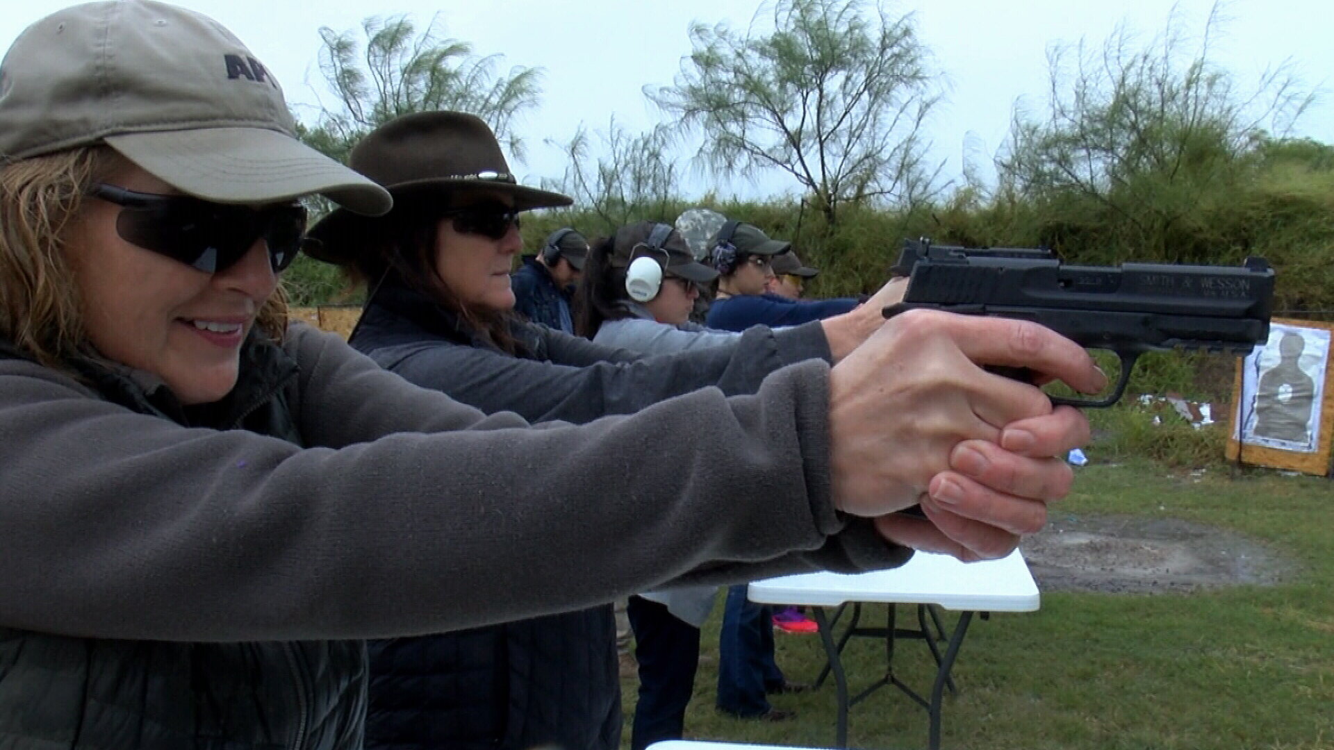 Title IV-D Court Judge Susan Barclay and 347th District Court Judge Missy Medary take aim at a target during a concealed carry class Sunday. The judges were part of a group of a dozen female courthouse employees taking the class.