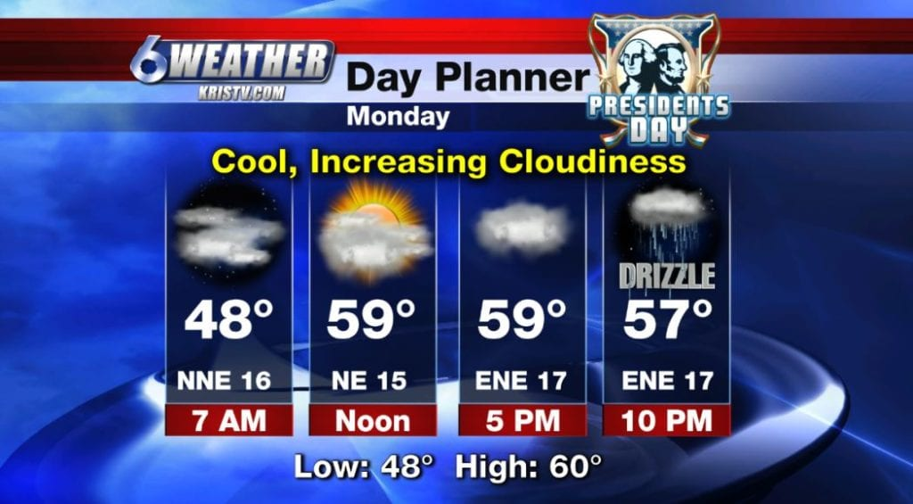 6WEATHER Day Planner for Monday 2/18/19.