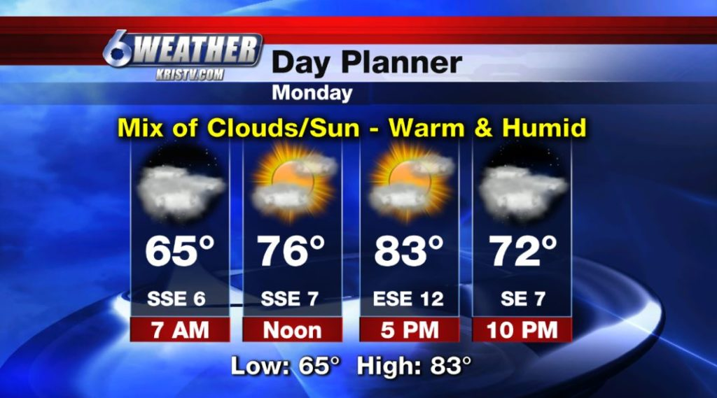 6WEATHER Day Planner for Monday 3/25/19.