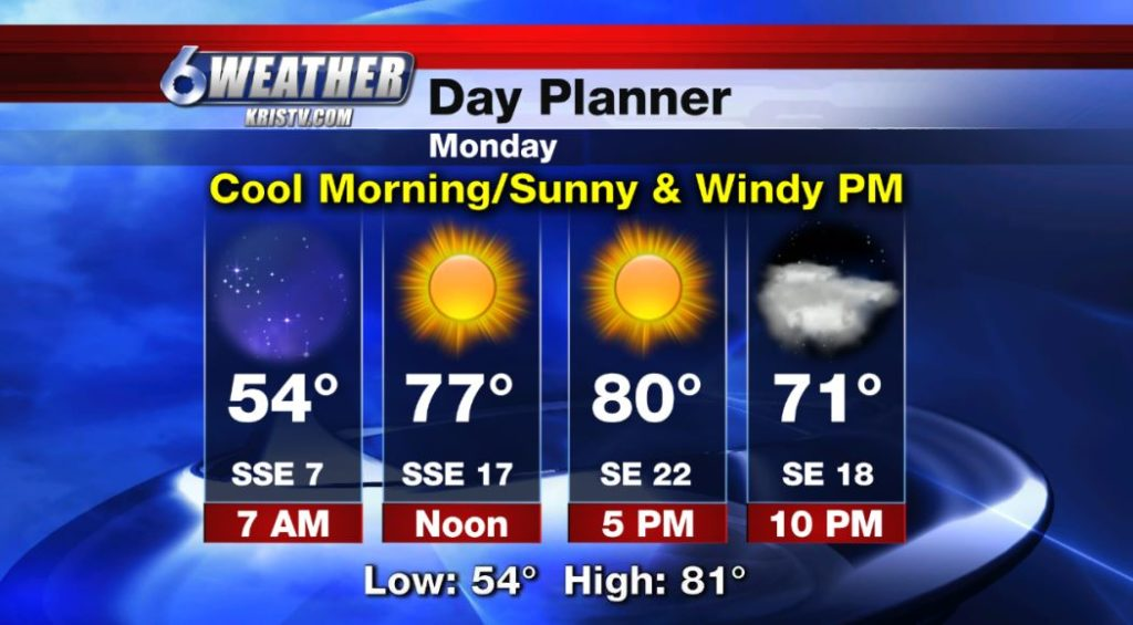 6WEATHER Day Planner for Monday 4/15/19.