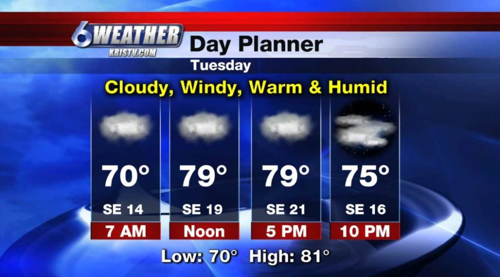 6WEATHER Day Planner for Teusday 4/23/19.