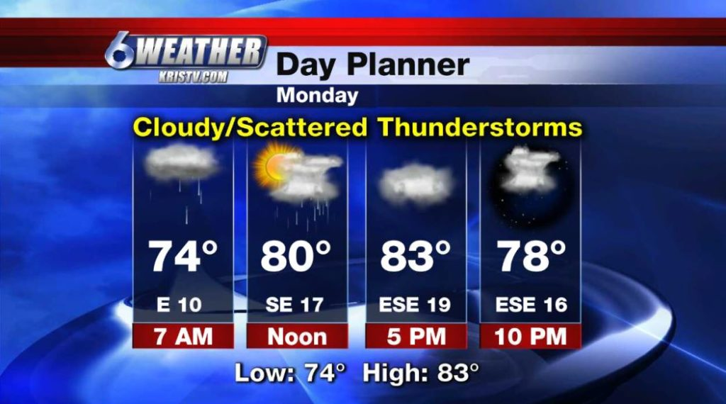 6WEATHER Day Planner for Monday, 5/6/19.