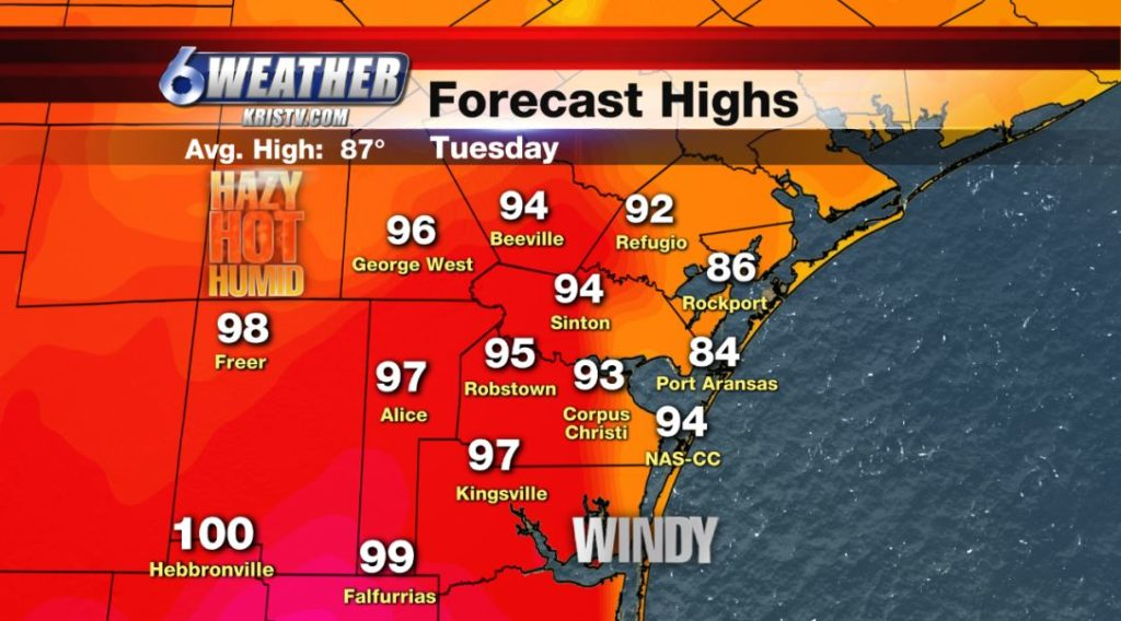 6WEATHER Daily Highs for Tuesday 5/21/19.