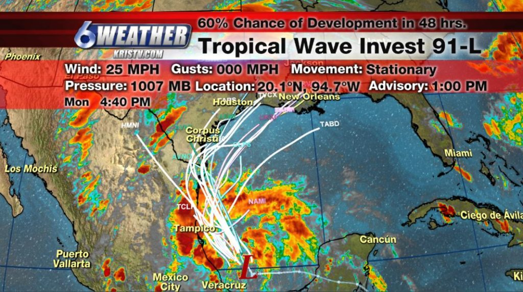 Tropical Wave Invest 91-L information as of 440PM 6/3/19.