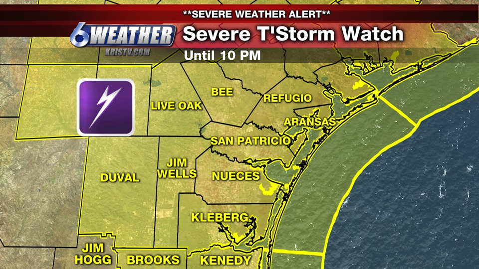 The National Weather Service has issued a Severe Thunderstorm Watch for the entire Coastal Bend until 10PM.